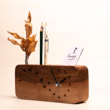 Load image into Gallery viewer, Wood pen holder with clock for your study room