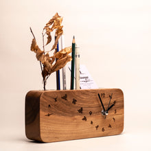 Load image into Gallery viewer, Wooden desk organizer with clock
