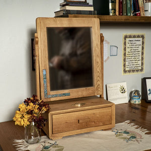 Wooden Rectangle Mirror with Drawer made of Oak
