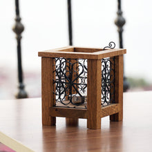 Load image into Gallery viewer, Wooden Tealight Holder with Telkari art