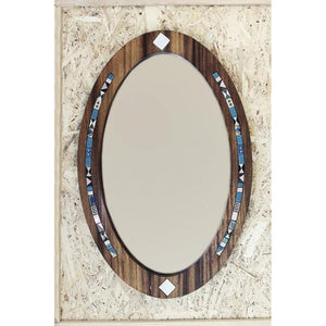Oval Wood Wall Mirror for decoration