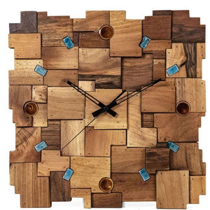Patchwork Wooden Wall Clock made of walnut