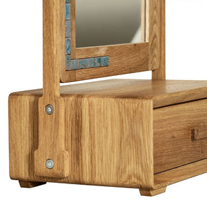 Wooden Makeup Mirror with Drawer made of Solid Oak