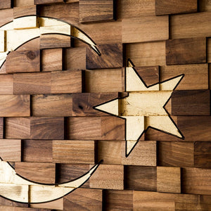 Wooden Wall Art : Wooden Turkish Flag