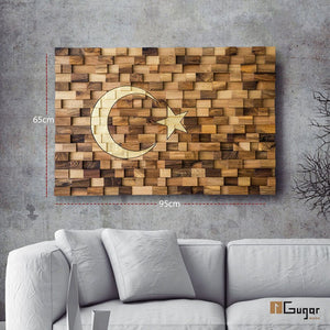 Wall art turkish flag for your home or office decoration