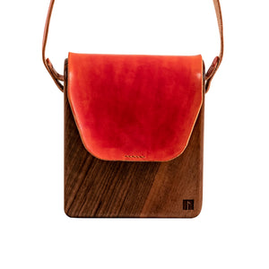 Wooden red purse for ladies