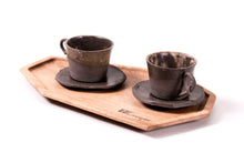 Load image into Gallery viewer, Two cups set made of ceramics and wood