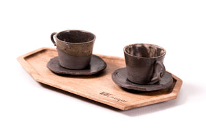 Two cups set made of ceramics and wood