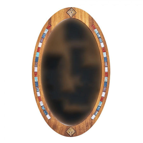 Decorative wood wall mirror with ceramics