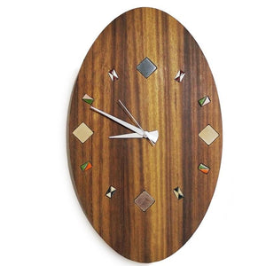 Wooden Wall Clock with ceramics