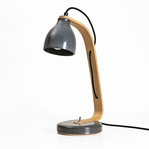 Wooden Desk Lamp by made of oak and ceramics