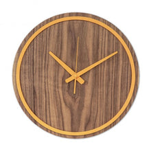 Load image into Gallery viewer, Orange Wooden Wall Clock