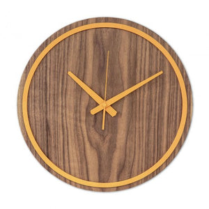 Orange Wooden Wall Clock