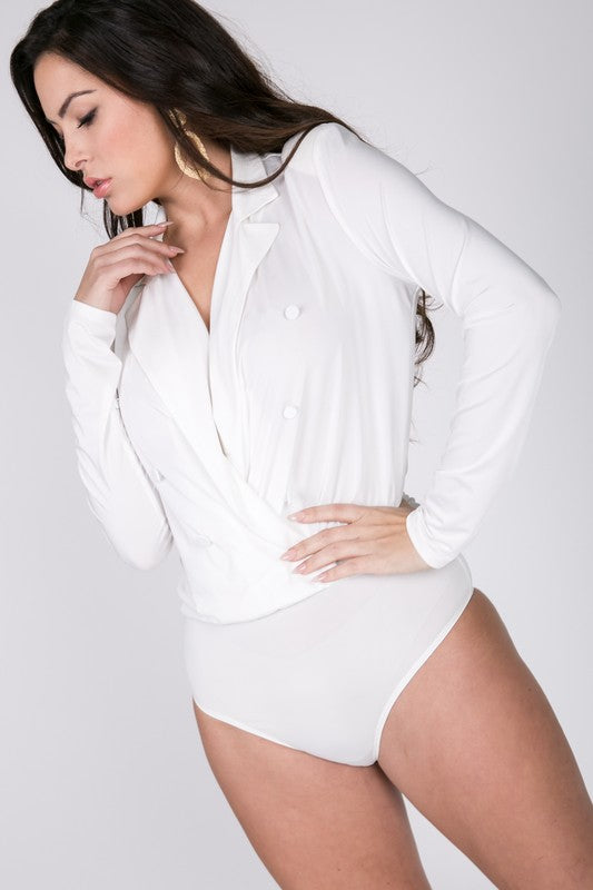 White Button Detail Body Suit