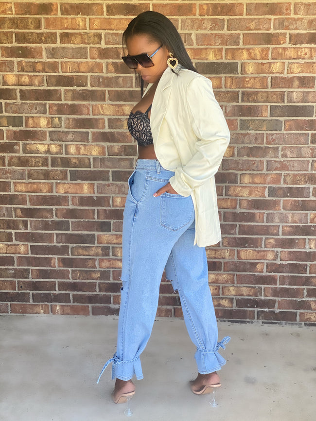Light Stone Wash Mom Jeans