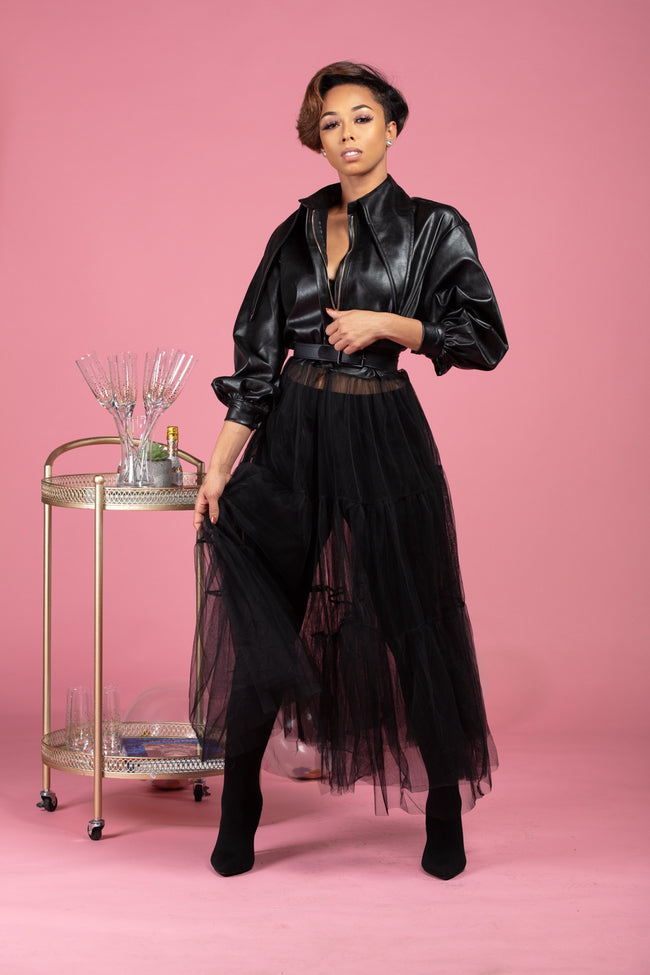 Blackout Tulle Leather Jacket
