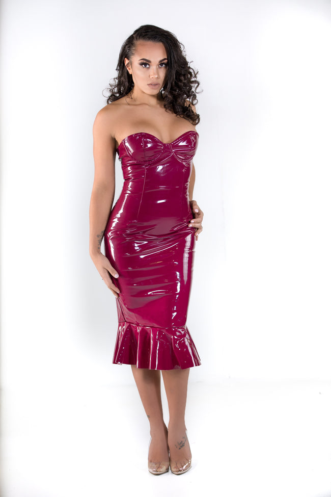 Wine latex dress