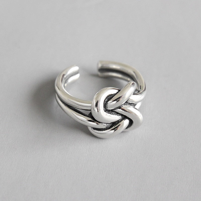 100% 925 Sterling Silver Double Knot Rings For Women Accessorie Finger Ring Femme Jewelry - Miranda's Paparazzi Style