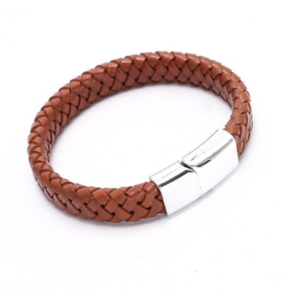 Punk Men Jewelry Black/Brown Braided Leather Bracelet Stainless Steel Magnetic Clasp Fashion Bangles 18.5/22/20.5cm - Miranda's Paparazzi Style