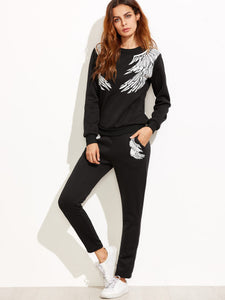 Black Angel Wings Print Sweatshirt With Pants - Miranda's Paparazzi Style