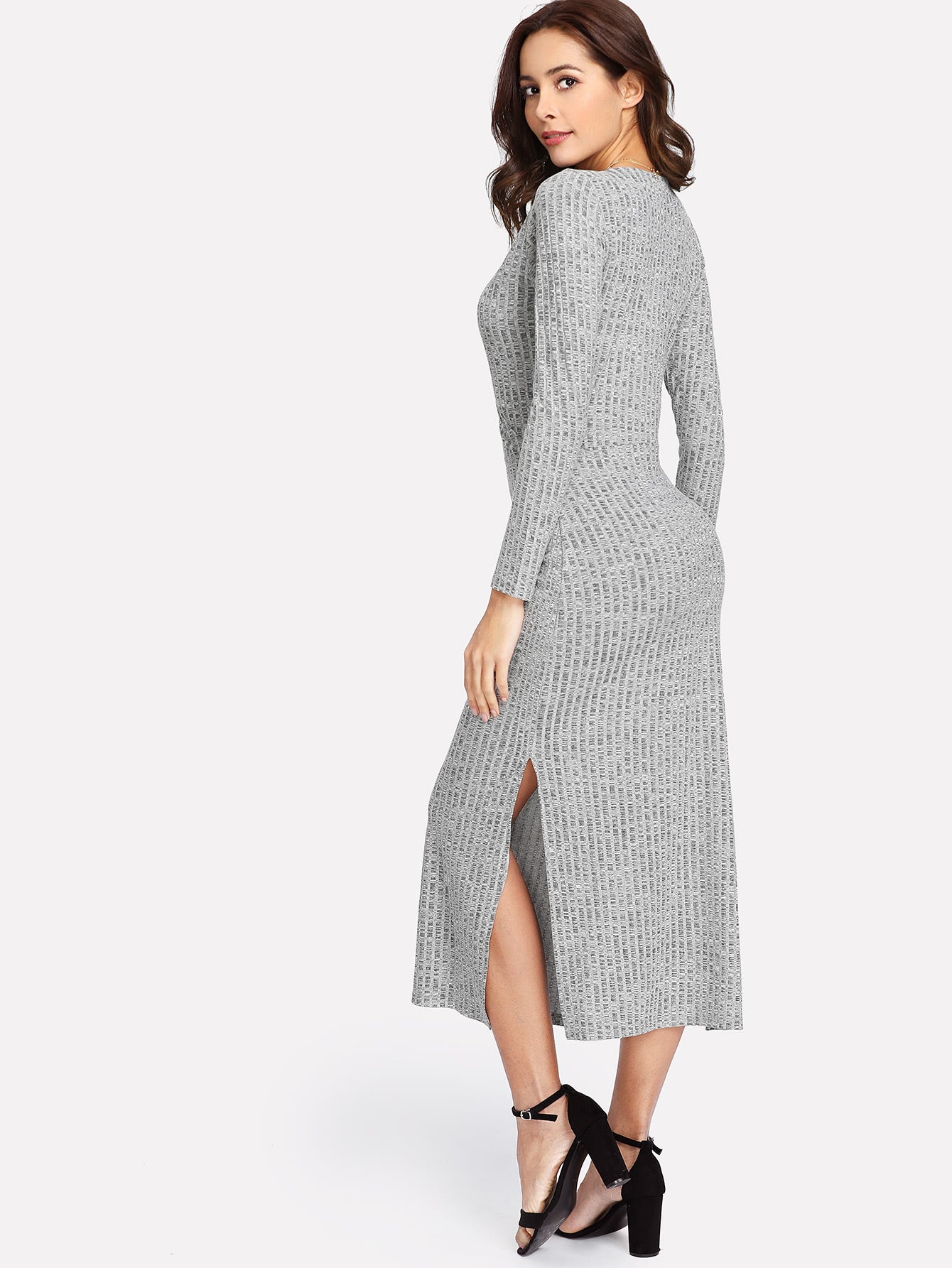 V Neckline Split Side Slub Knit Dress - Miranda's Paparazzi Style