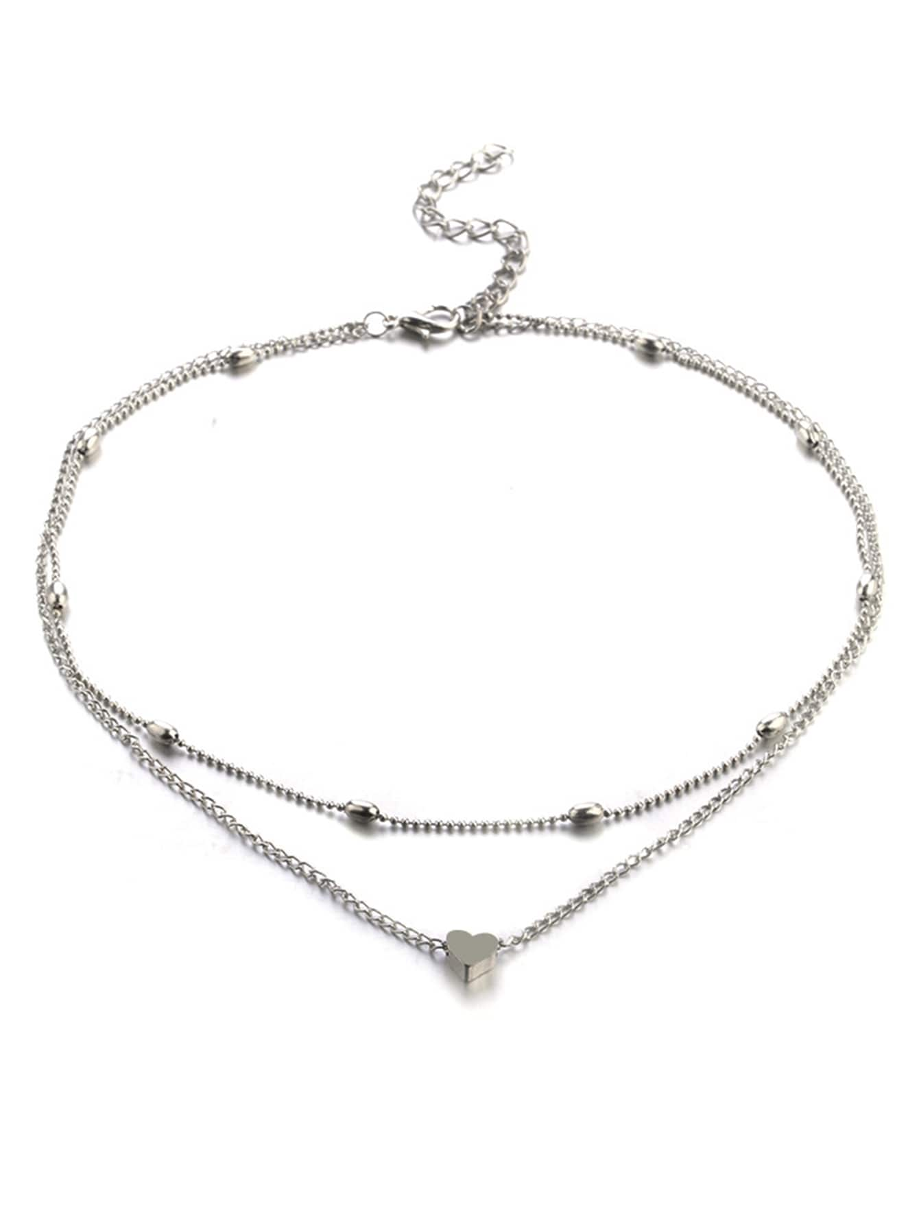 Heart Detail Layered Chain Necklace - Miranda's Paparazzi Style