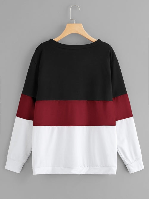 Plus Pearl Beaded Color Block Sweatshirt - Miranda's Paparazzi Style