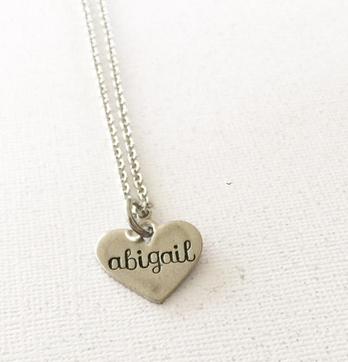 Name necklace - Heart necklace - Hand stamped - Miranda's Paparazzi Style
