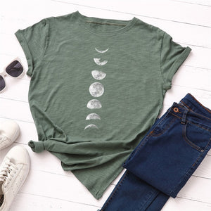 Plus Size S-5XL New Moon Planet Print T Shirt Women Shirts O Neck Short Sleeve Summer T-Shirt Tops - Miranda's Paparazzi Style