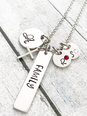 Family necklace - hand stamped jewelry - hand - Miranda's Paparazzi Style