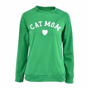 CAT MOM Heart Print Hoodies Women's Autumn Winter Fashionable Long Sleeve Casual Sweatshirt - Miranda's Paparazzi Style