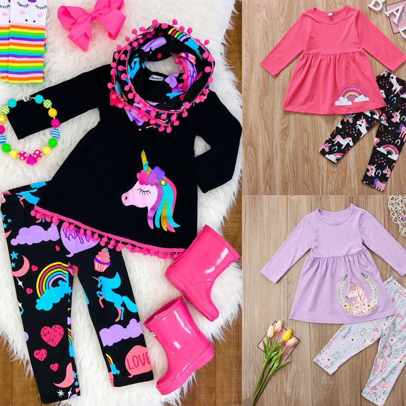 Unicorn Girls Clothing Sets Family Clothes Sets Kids Baby Girls Outfits Clothes Long Sleeve T Shirt Top+ Leggings Children 2Pcs - Miranda's Paparazzi Style