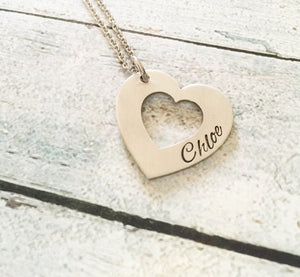 Name necklace - Hand stamped necklace - Heart - Miranda's Paparazzi Style