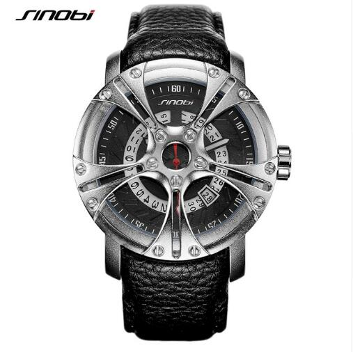 SINOBI Men Watch S Shock Military Watch Leather Straps