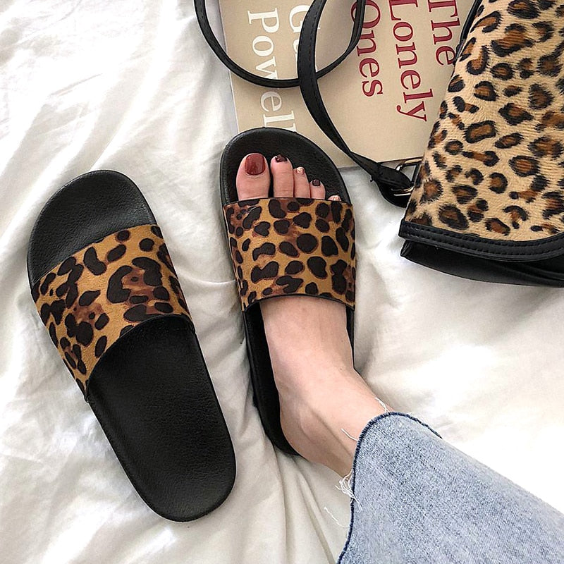 Summer Slippers Women Slides Leopard