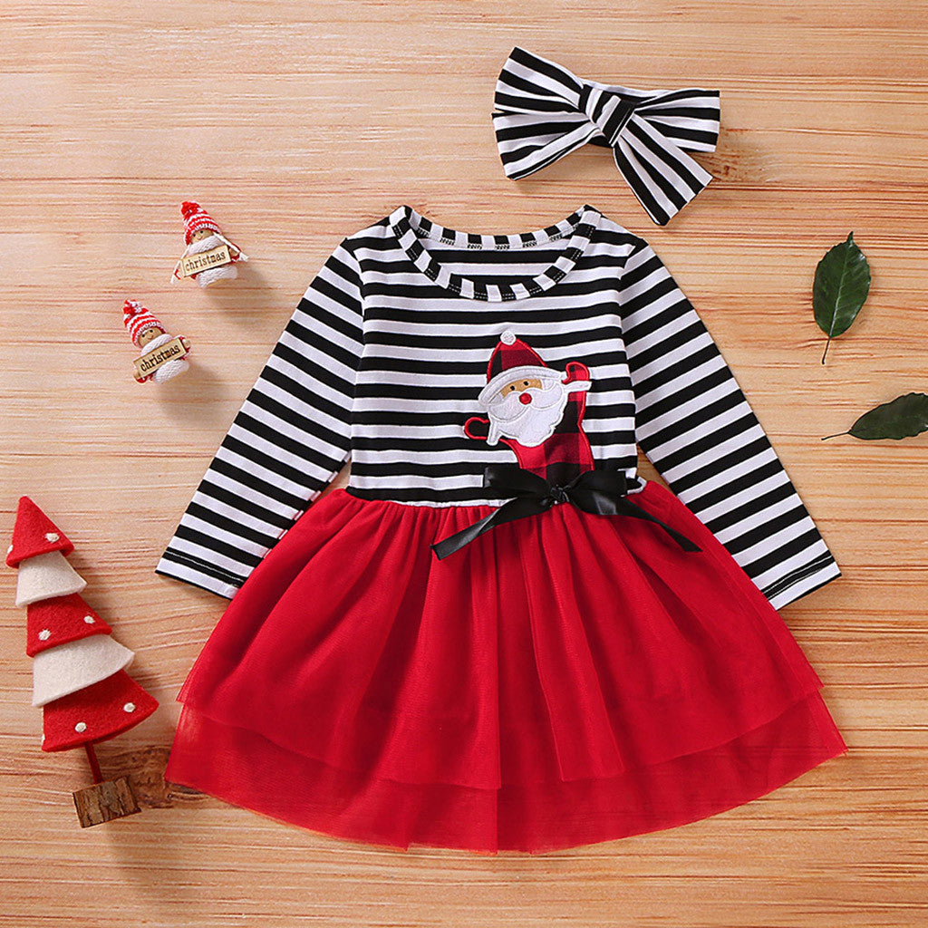Toddler Girls Christmas Dress Santa Striped Print Tulle Dress+Headband Outfits Toddler Christmas Dress Girls Vestido Infantil - Miranda's Paparazzi Style