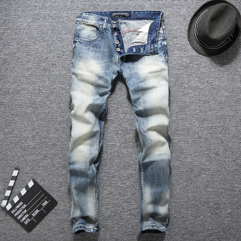 Slim Fit Men Jeans Light Blue Color Button Jeans Elastic Long Pants Balplein Brand Classical Jeans Men - Miranda's Paparazzi Style