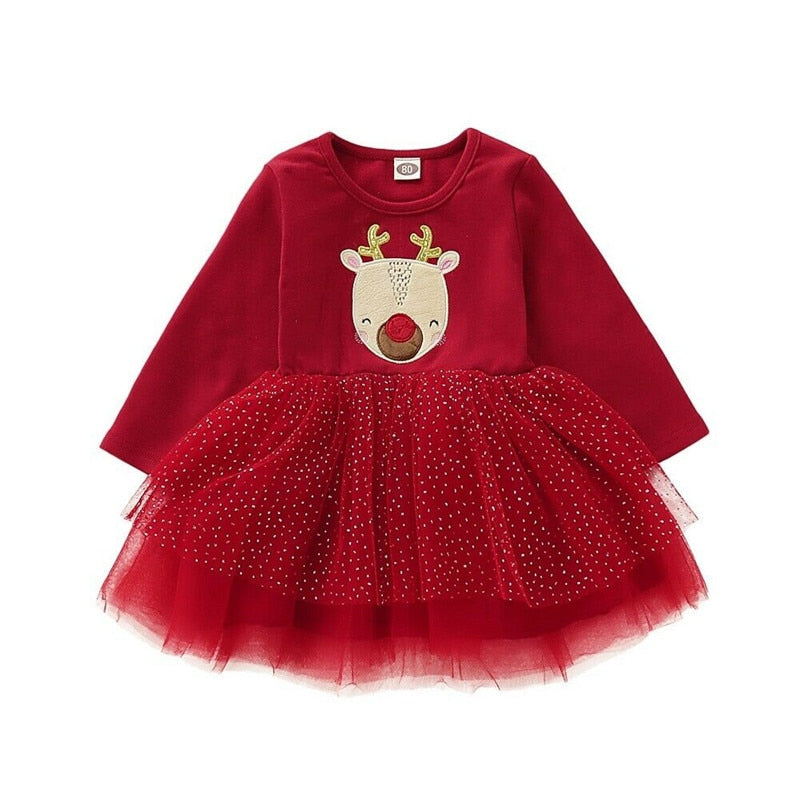 Toddler Kid Baby Girl Xmas Elk DeerClothes Long Sleeve Lace Tutu Tulle Princess Dress Christmas Long Sleeve Warm Gown Dresses
