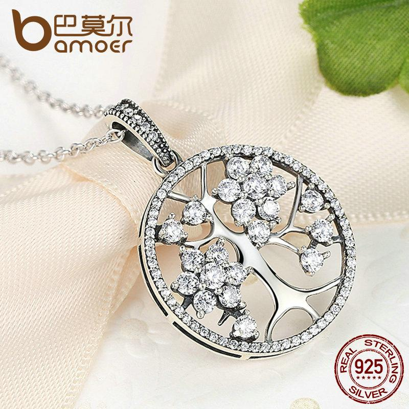 BAMOER 925 Sterling Silver Tree of Life Round Pendant Necklaces PSN013 - Miranda's Paparazzi Style