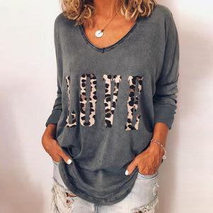 Women Leopard Letter Tops tee Love Print T shirts Girls LOVE V Neck Tshirts Casual Loose Long Sleeve Pullover Shirts Sweatshirts - Miranda's Paparazzi Style