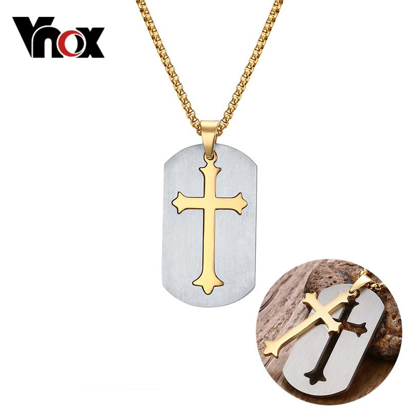 Vnox Removable Cross Pendant, Men's Chain