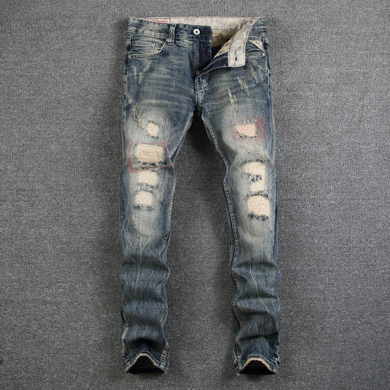 Mens Jeans Destroyed Ripped Jeans
