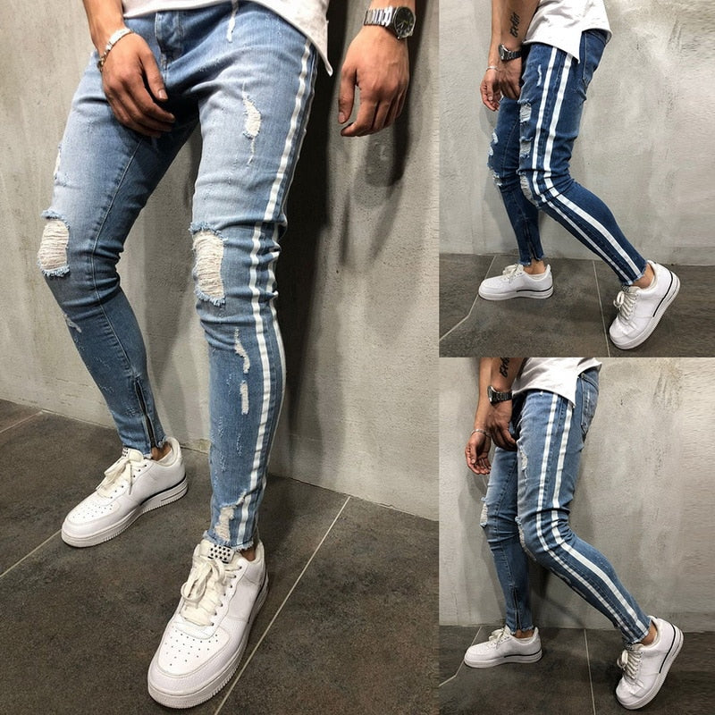 2019 Ripped Side Striped Streetwear Jeans