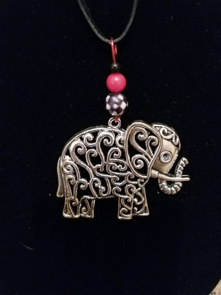 Alabama Crimson Tide Filigree Elephant Necklace - Miranda's Paparazzi Style