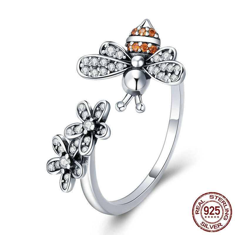 100% 925 Sterling Silver Trendy Bee & Daisy Flower Finger Rings for Women Adjustable Size - Miranda's Paparazzi Style