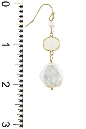 Mother of pearl accent disks drop earrings - Miranda's Paparazzi Style
