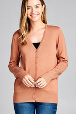 Ladies fashion long sleeve v-neck classic sweater cardigan-id.CC35586k