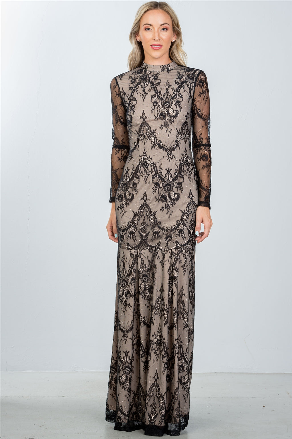 Ladies fashion black lace nude illusion open back maxi dress - Miranda's Paparazzi Style