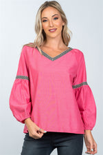 Boho drop shoulder embroidery blouse - Miranda's Paparazzi Style