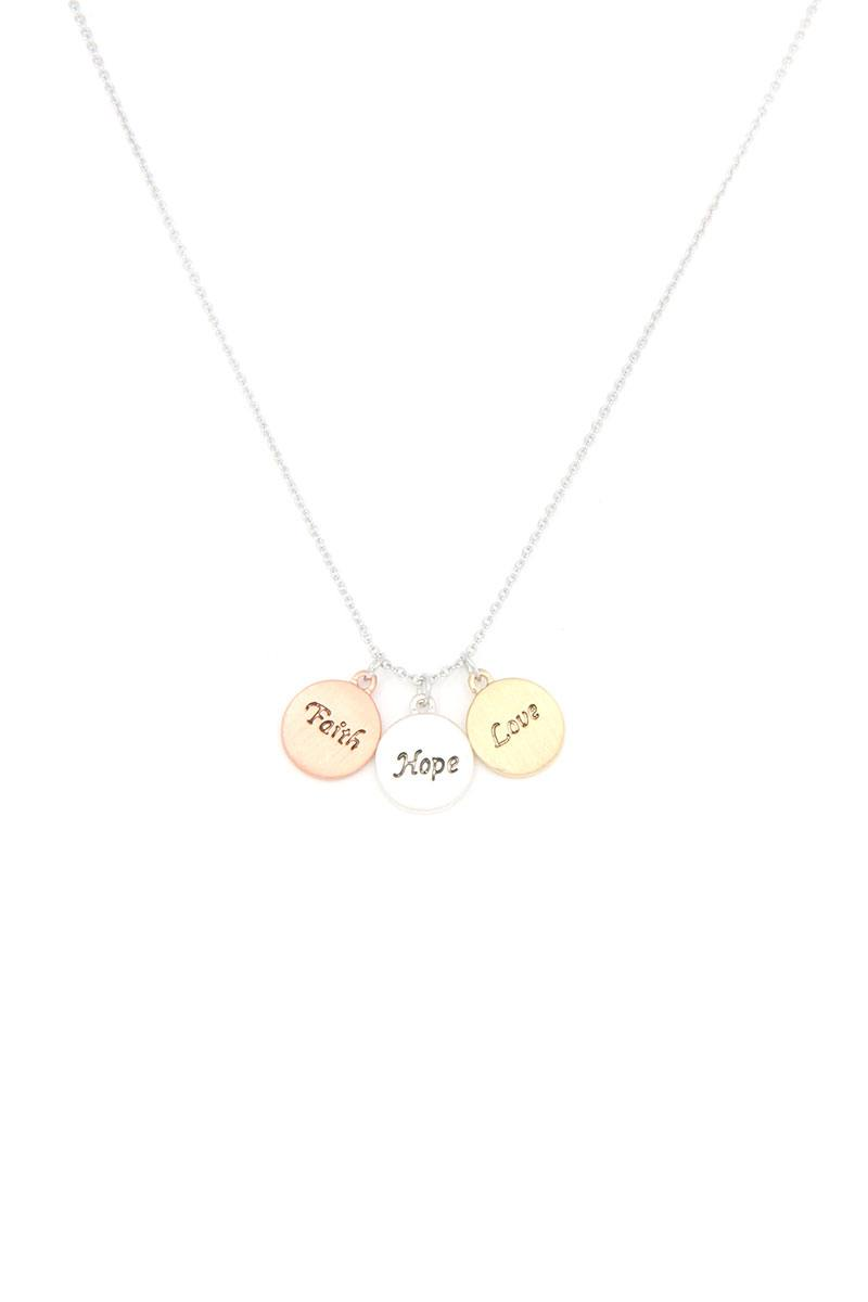 Round Quoted Metal Charm Necklace
